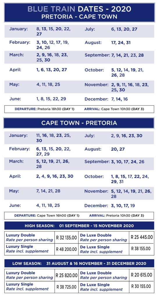 Blue Train Schedule 2020